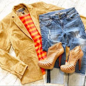 Alfani tan soft suede blazer w/ pockets size small